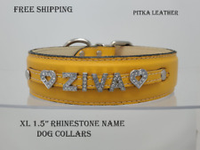 Bling Dog Collars - Rhinestone Name Collars - Personalized Leather Dog Collar XL