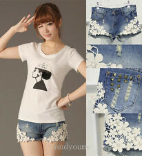 Korean Womens Girl Summer hot pants Lace Flower Skinny Jean Shorts Cut-Off Denim