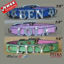 Bling Leather Dog Collars - Cat and Dog Collar with Rhinestone Name - Small Dog