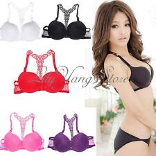 HOT Sexy Fashion Womens Lady Front Closure Lace Racer Back Racerback Push Up Bra