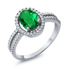 1.91 Ct Oval Green Simulated Emerald 925 Sterling Silver Ring
