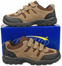 Mens New Khaki / Brown Velcro Hiking Walking Trainers Size 6 7 8 9 10 11 12