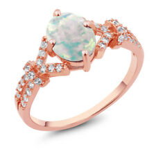 1.96 Ct Simulated Opal White Created Sapphire 925 Rose Gold Plated Silver Ring