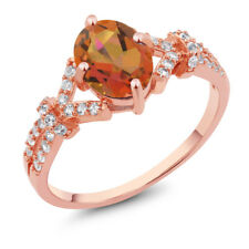 2.66 Ct Twilight Mystic Quartz and Created Sapphire Rose Gold Plated Silver Ring