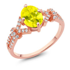2.66 Ct Canary Mystic Topaz White Created Sapphire Rose Gold Plated Silver Ring