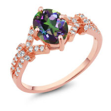 2.66 Ct Green Mystic Topaz White Created Sapphire Rose Gold Plated Silver Ring