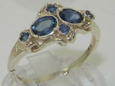 Unusual Solid 925 Sterling Silver Natural Blue Sapphire Victorian Style Ring