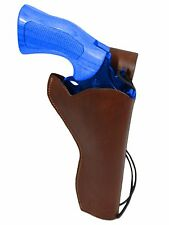 """NEW Barsony Brown Leather 49-er Style Gun Holster for Ruger 6"""" Revolvers"""