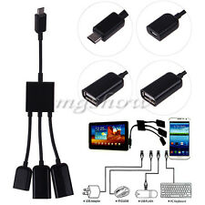 Dual Micro USB Host OTG Hub Converter Cable Adapter For Galaxy Note 10.1 P600