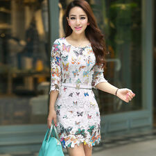 Summer Fashion Womens White Hollow Lace Smart Butterfly Printed Short Mini Dress
