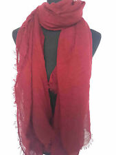 20 Colors! Oversize Plain Maxi Cotton Scarf Hijab Shawl Frayed Edge Stretchy