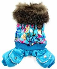 Bright Blue Bubble Trench Coat Dog Winter Clothes Jumpsuit Jacket Costume 5 Size