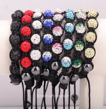 1pc Quality Disco Ball Clear Crystal Beads Macrame Bracelet for Beauty 8 Colors