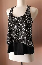 Sexy Womens S M L Gold Silver Sequin Loose Layered Fashion Club Evening Tank Top
