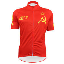 2014 Outdoor Sports Wear Mens Pro Cycling Short Sleeve Jersey CCCP Red Shirt