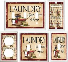 LAUNDRY SCRUB BOARD BASKET WITH CLOTHES HOME DECOR SWITCH OR OUTLET COVER V626