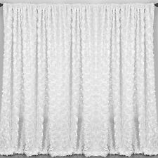 "2 Rosette Drape Panels 54""x108"" Window Treatment 3D Curtains Wedding 20 Colors"