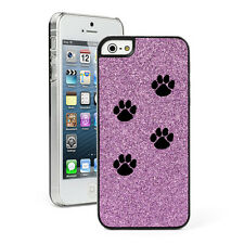 For Apple iPhone 4 4S 5 5S 5c GLITTER Bling Hard Case Cover Paw Prints Walking