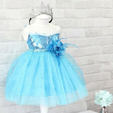 Blue Girls Kids Princess Movies Party Tulle Flower Stars Bling Gown Full Dresses