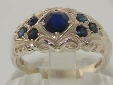 High Quality 925 Solid Sterling Silver Genuine Natural Sapphire Band Ring