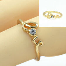 1 PC Vogue Fashion Jewellery Gold&Silver Pld LOVE Couple Finger Rings Size 17mm