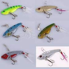 6 Colors Metal Spoon Fishing Lure Crankbait Bass Crank Bait Treble Hook E0Xc
