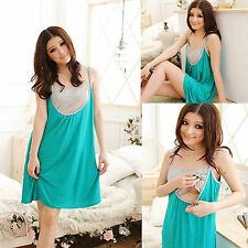 Pregnant Women Spaghetti Strap Breastfeeding Maternity Loose Casual Dress M