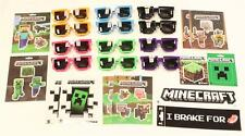 PARTY PACK! 12 MINECRAFT STICKERS + 12 PAIR OF PIXELATED SUNGLASSES (6 colors!)