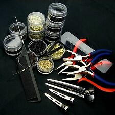 NEW 1000pcs x Nano Rings Beads + Nano Tip Hair Extension Application Tools Kit