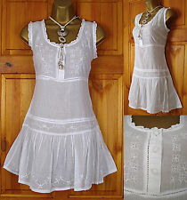 NEW M&Co LADIES WHITE COTTON EMBROIDERED SUMMER TUNIC DRESS TOP  UK 8-18 RRP£30