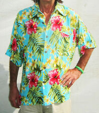 Loud Hawaiian Shirt with Hibiscus Flowers Light Blue Stag Night Summer Party New