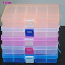 Loom Bands Jewelry Storage Plastic Organizer Beads Craft Box Case 15/10 Slots
