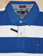 Tommy Hilfiger POLO SHIRT men's NEW WITH TAGS Custom Fit WHITE/BLUE
