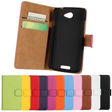 Genuine Leather Wallet Stand Flip Card Case Cover Protector Skin For HTC ONE S