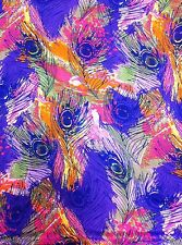 Purple Peacock Feathers on Colorful Abstract Sheer Chiffon Polyester Fabric