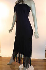 T-PARTY Purple Black Mineral Wash Fringe Crochet Lace Strapless New Maxi Dress