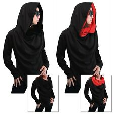NWT Black lady long sleeve turtle cowl neck hood cloak shirt top size L XL