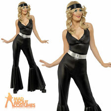 70s Disco Diva Costume Abba Jumpsuit Ladies Fancy Dress Flares Outfit 8 - 18