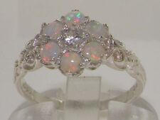 Victorian English Solid 925 Sterling Silver Natural Opal & Diamond Daisy Ring