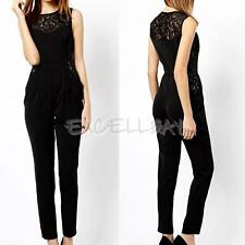 Sexy Slim Lace Round Neck Sleeveless Splicing Jumpsuit Rompers E0Xc
