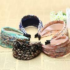 Retro Wide Pleated Floral Headband Alice Hair Band Wedding Party