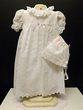 NEW PETIT AM WHITE EYELET INFANT CHRISTENING GOWN SIZES 3 6 12 Months