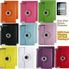 360 Rotating PU Leather Case Smart Cover with Swivel Stand for Apple iPad 2 3 4