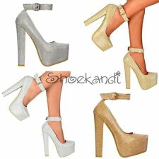 WOMENS GLITTER ANKLE STRAP BLOCK HIGH HEEL STILETTO PARTY SHOE GOLD SILVER SIZE
