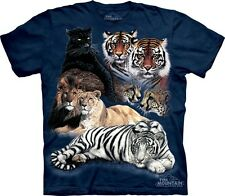Big Cat Collage T-Shirt by The Mountain. Lion Tiger Panther Cougar S-5XL NEW