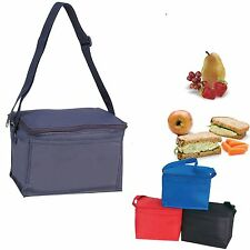 INSULATED COOLER  6 PACK PICNIC DRINK WATER LUNCH BAG BAGS BOX 8-1/2 X 5-1/2""
