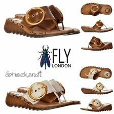 Fly London Trim Flip Flop Wedge Cleated Sole Sandals Toe Post Off White Camel