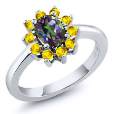 1.45 Ct Oval Green Mystic Topaz Yellow Sapphire 925 Sterling Silver Ring