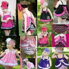 Girl Baby Ruffle Top Dress + Pants Set New Bloomers Nappy Cover Size 0-3Y Lovely
