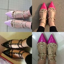 Sexy Women Punk Rivet Studded Flat Heel Pumps Pointed Toe Sandals Shoes All Size